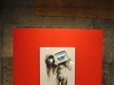 Imperative slave (crtež – objekat, miks mediji, 160x80cm)