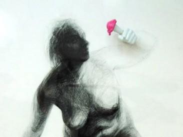 Imperative slave II (crtež – objekat, miks mediji – video animacija, 150x90cm)