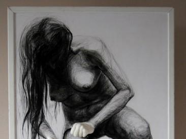 Media slave (crtež, miks mediji – instalacija, 150x70x10cm)