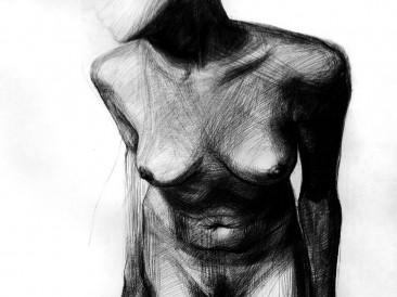 Anxious (ugljen na papiru, 100x70cm)