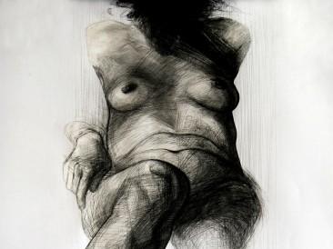 Thinking (crtež – komb.tehnika, 100x70cm)