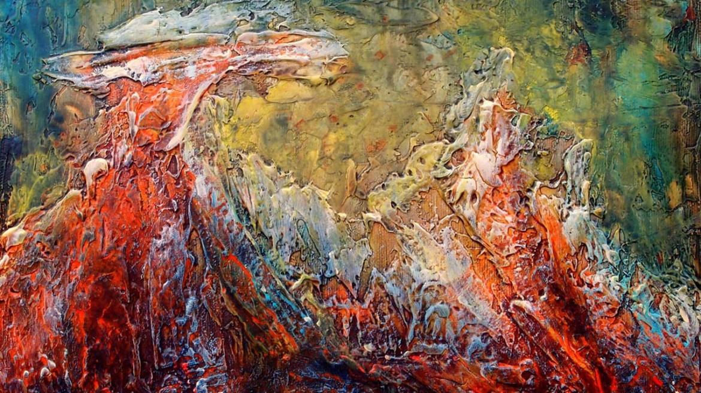 01 Zapisi sa Meteora No 291 2018. komb. tehnika 25x35cm