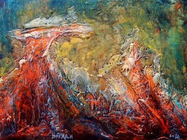 """Iz ciklusa """"Zapisi sa Meteora"""" no.291 (komb. tehnika, 25x35cm) 2018.god."""