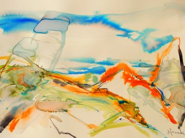 """Iz ciklusa """"Zapisi sa Meteora"""" no.350 (akvarel, 33x48cm) 2018.god."""