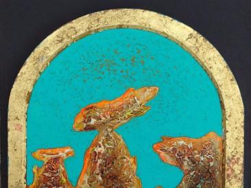 """Iz ciklusa """"Zapisi sa Meteora"""" no.288 (komb. tehnika, 37×27,5cm) 2018.god."""