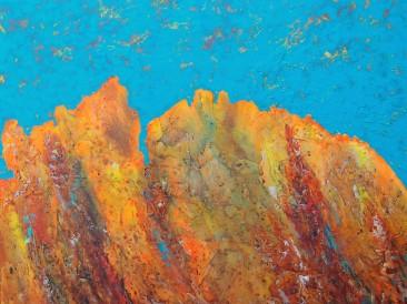 """Iz ciklusa """"Zapisi sa Meteora"""" no.221 (komb. tehnika, 50x55cm) 2017.god."""