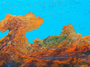 """Iz ciklusa """"Zapisi sa Meteora"""" no.225 (komb. tehnika, 50x70cm)  2017.god."""