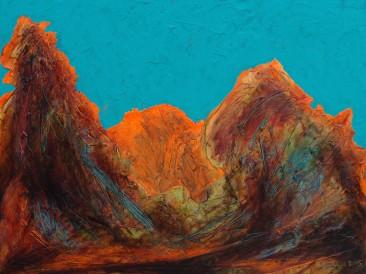 """Iz ciklusa """"Zapisi sa Meteora"""" no.90 (komb.tehnika, 45x60cm) 2015.god."""
