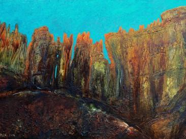 """Iz ciklusa """"Zapisi sa Meteora"""" no.07 (komb. tehnika, 70x100cm) 2014.god."""