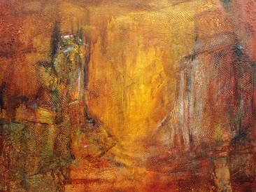 """Iz ciklusa """"Zapisi sa Meteora"""" no.10 (komb. tehnika, 70x100cm) 2013.god."""