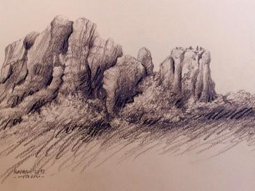 "Iz ciklusa ""Zapisi sa Meteora"" no.24 (olovka, 25,5×36,5cm) 2013.god."