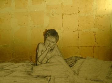 Jutro (olovka na lepenci i zlatni listići, 100x70cm)