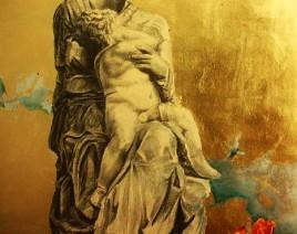 02. Prorocanstvo, olovka na lepenci, ulje i zlatni i srebrni listići, 80x60cm