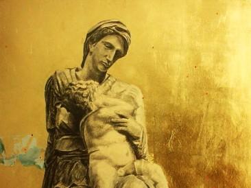 Proročanstvo (olovka na lepenci, ulje, zlatni i srebrni listići, 80x60cm)