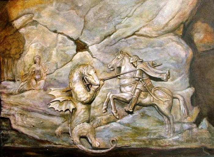 08. Sveti Đorđe ulje na kaširanom platnu 50x40cm