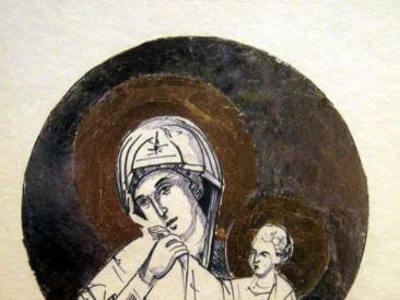 Sveta majka (olovka, srebrni i zlatni listići na papiru, 50x30cm)