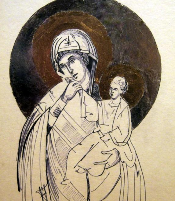 09. Sveta majka, olovka i srebrni i zlatni listići na papiru, 50x30cm