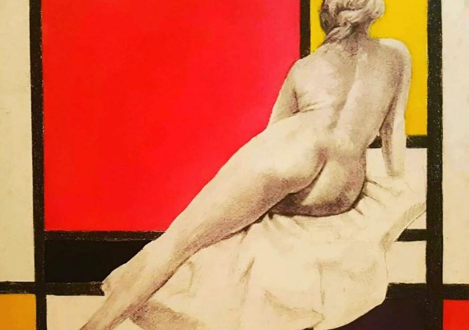 1. Omaž Mondrijanu, olovka i ulje na krilitu, 40x40cm