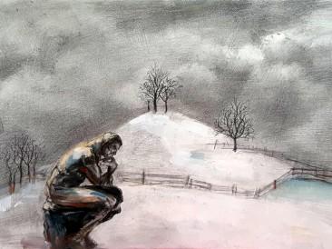Hladne misli (olovka na krilitu, 30x20cm)