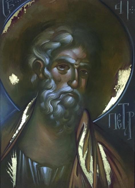 APOSTOL PETAR- AKRIL NA PLATNU. POZLATA- 70x100- 2017