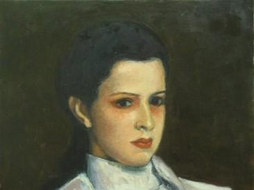 044 Devojka – portret, ulje na platnu, 45x40cm, 2018