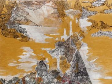 Zlatna kiša (akrilik, tuš i pero na platnu, 120x100cm, 2016.god.)