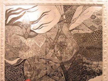 Crvena reka-Crno more (akrilik, olovka, tuš i pero na platnu, 120x100cm, 2015.god.)