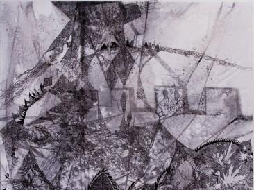 Presek ili Zaron, (akrilik, ugljen, tuš i pero na platnu, 120x100cm,  2011.god.)